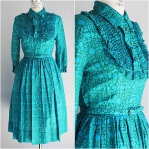 Vintage 1950s Turquoise Dress with Belt, ruffle